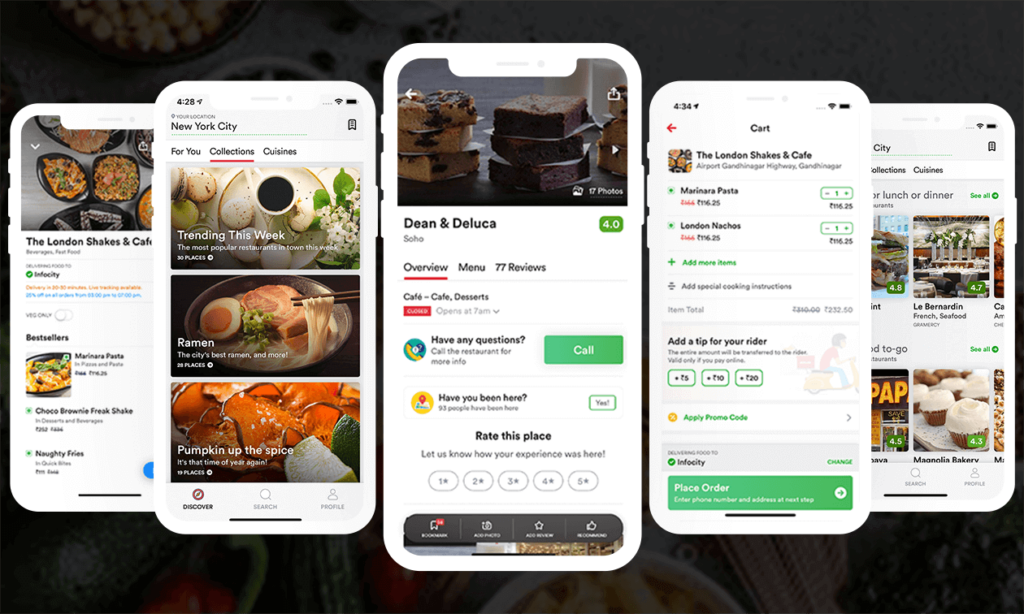food delivery app screens