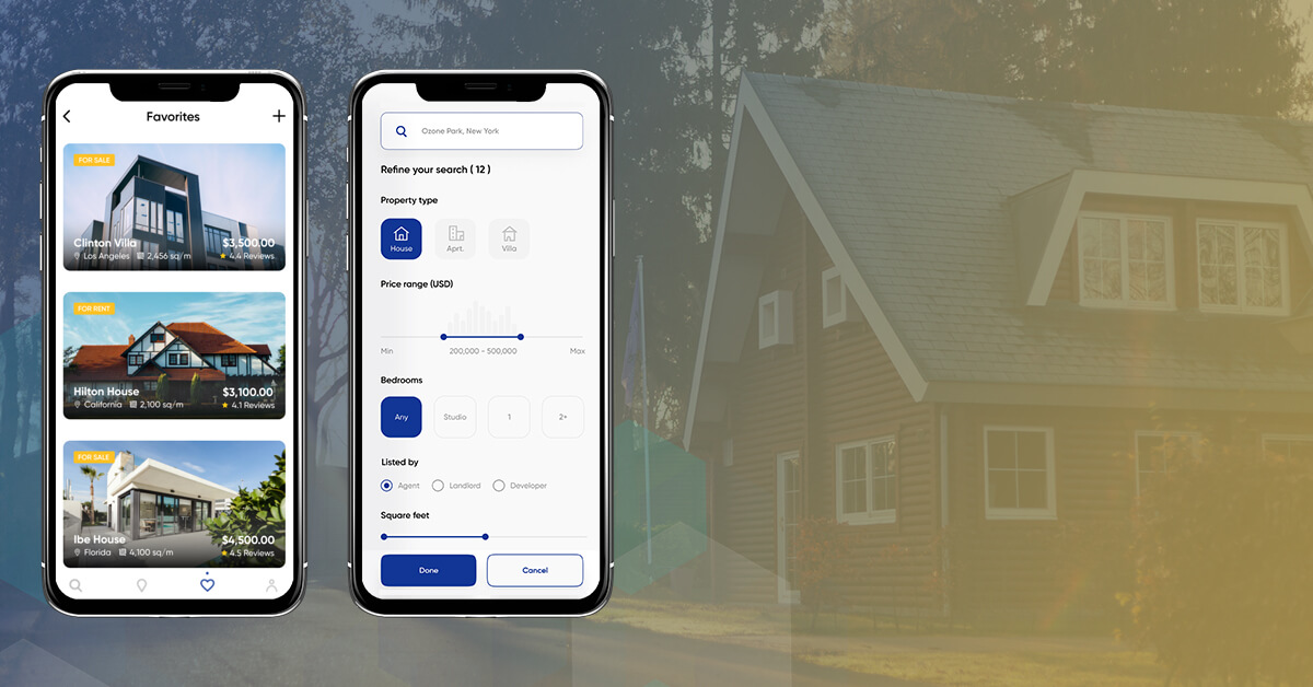 Different Real Estate App features Screenshots