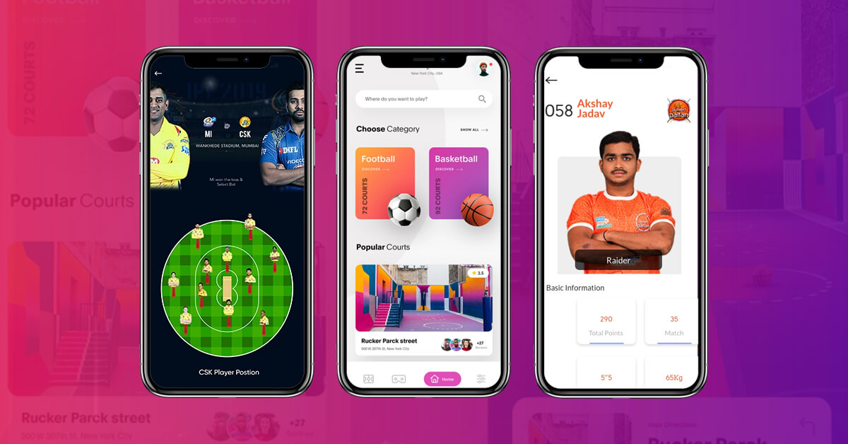 Different Sports Fantasy Apps screens like for Cricket, Football, Kabaddi