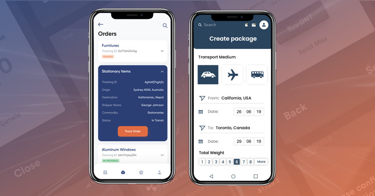 different screen of Logistic App with basic features