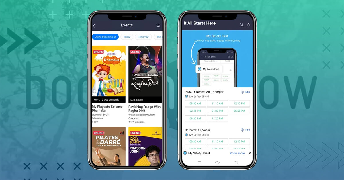 different screen of BookMyShow App with basic features