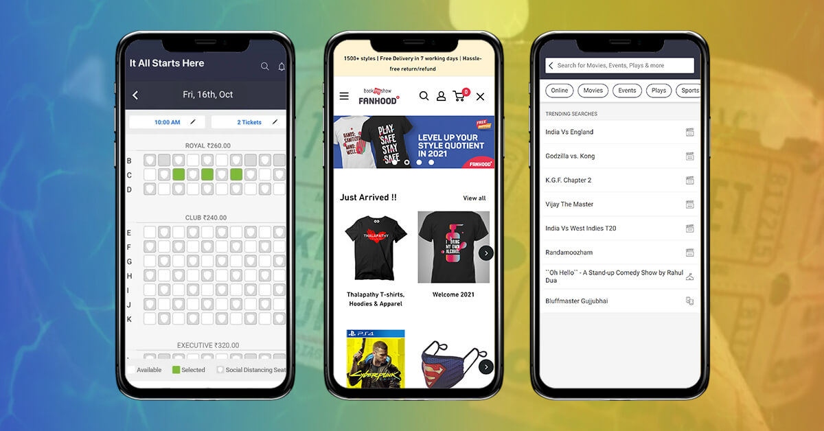 3 screen with a little advanced features for BookMyShow App