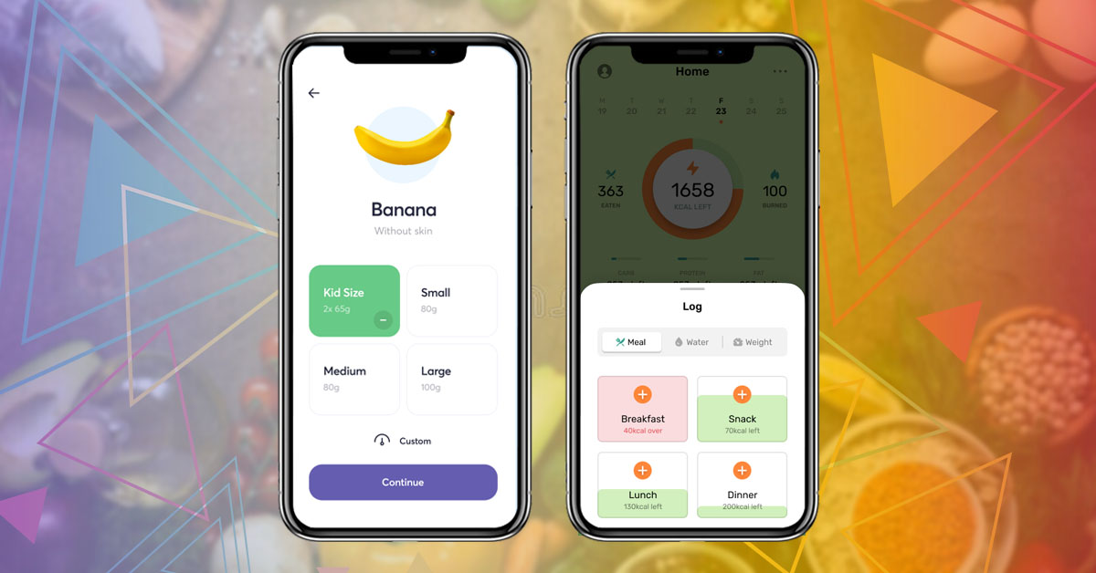 different screen of Diet & Nutrition Tracking App with basic features