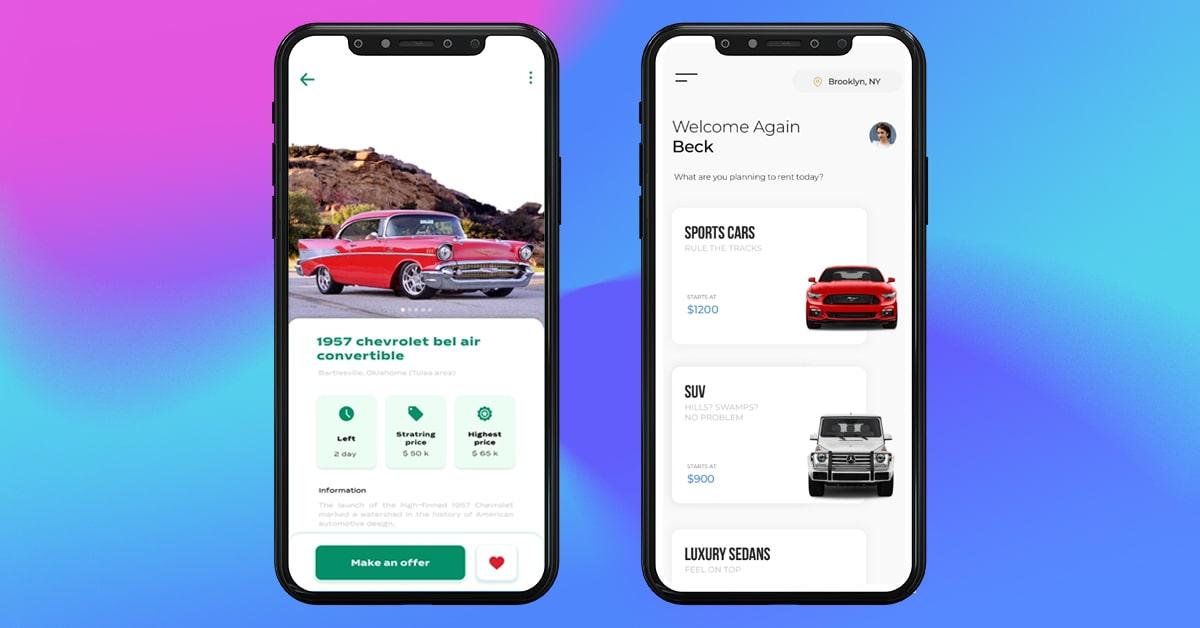 features of car auction app