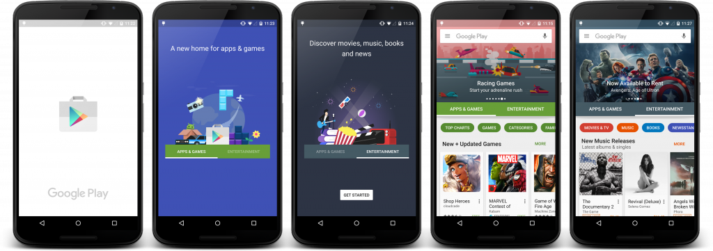 Redesigned Google Play Store